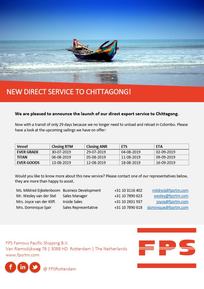New direct NVOCC consolidation services to Chittagong (Chattogram)!